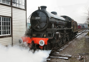 61264 undertakes test running on the demonstration line at Crewe Heritage Centre, following the completion of its £450,000 overhaul, 13th November 2012. Photo courtesy of Keith Langston.